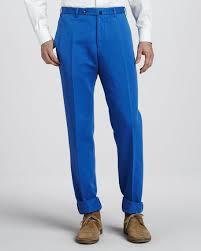incotex chinolino linen cotton pants bright blue
