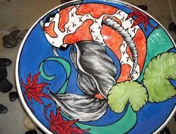 personalized serving platter ceramic custom made ceramic koi pond bowl platter handmade wheel thrown