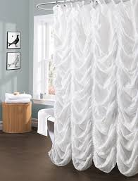 White Lace Shower Curtain by Interior White Ruffle Curtains Ruffled Curtains White Curtians