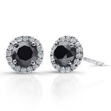 black diamond studs 3 4 ct black diamond stud earrings with halo