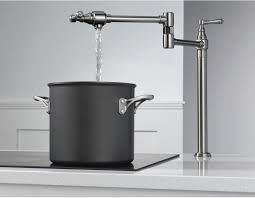 Kitchen Pot Filler Faucets Trendy Pot Filler Faucet With Simple Design And White Countertops