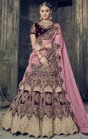 engagement lengha buy stylist wine velvet worked engagement lengha choli pink dupatta