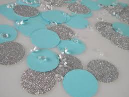 silver glitter aqua turquoise blue confetti decorations with