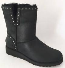 ugg womens grandle boots ugg australia grandle black sheepskin leather fully lined boots