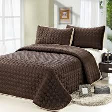 3pc reversible quilt set comfortable coverlet solid color beige