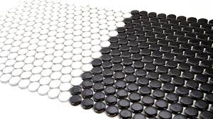 penny round porcelain mosaic black and white tiledaily http