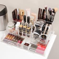 acrylic makeup organizer with drawer the container store