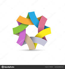 colorful ribbon abstract infinite loop logo paper origami colorful ribbon icon