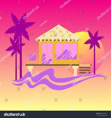 summer beach bungalow sunset vector illustration stock vector