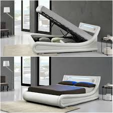 curved bed frame new stunning designer led rio ottoman built in bluetooth speakers