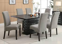 coaster dining room table contemporary 7 piece black dining table set with gray upholstered