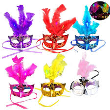 pink mardi gras mask 6 pack led feather mask mardi gras masquerade party feather led