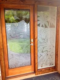 oak wooden frame single front doors with fiberglass panels decor