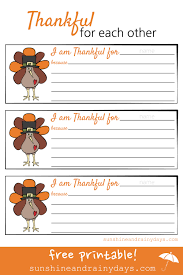 thankful for each other printable and rainy days