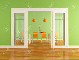 green and orange dining room with open sliding door rendering
