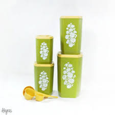 green canister sets kitchen shop retro kitchen canisters on wanelo