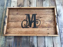 monogramed tray etsy mtnmetalworks wood serving tray 15 x 25 1 2