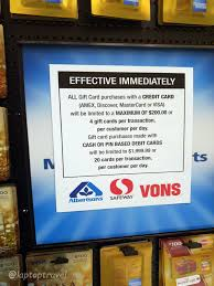 gift debit cards albertson s safeway vons cl on purchases of gift cards