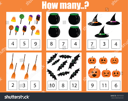 halloween numbers printable counting educational children game kids activity stock vector