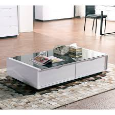 living room table with storage coffee table white gloss black glass top coffee table