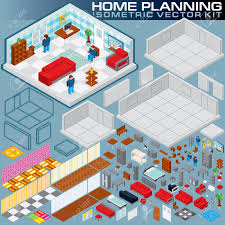 isometric home plan 3d vector creation kit various objects