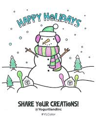 yogurtland blogs snowman holiday coloring page