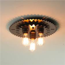 3 Bulb Flush Mount Ceiling Light Fixture Industrial Metal Gear Flush Ceiling Light Industrial Metal