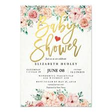 gold script watercolor floral baby shower invite zazzle