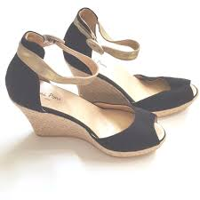 toni pons black suede wedge sandals espadrille shoes gold ankle