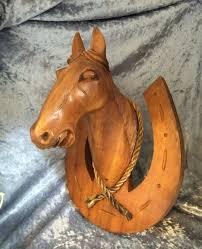 wood sculpture decor vintage carved wood sculpture bust on horseshoe