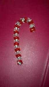 candy cane made from beads strung on a pipe cleaner made these
