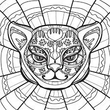 ethnic cat cat head hand drawn illustration in zentangle style