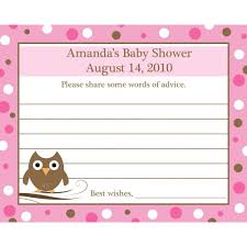 advice for the cards 24 personalized baby shower advice cards baby owl