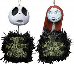 skellington and sally hanging heads wreaths ornament set from