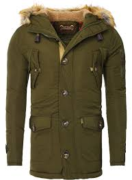 men winter jacket by young rich in dark green
