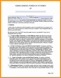 Power Of Attorney Wording General by 6 Power Of Attorney Form Hawaii Scholarship Letter