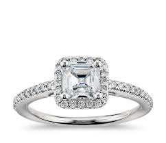 diamond wedding rings asscher cut halo diamond engagement ring in platinum blue nile