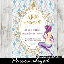 mermaid baby shower invitations mermaid baby shower invites aqua blue and gold royal frame