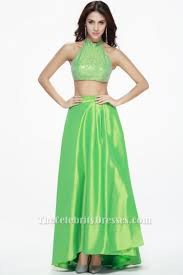 bud green two pieces prom gown evening dresses