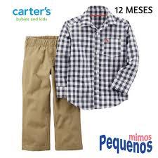 Amado Conjunto Bebê Menino 2 peças Calça + Blusa Social Carter's Xadrez  @ZM58