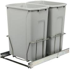 35 qt double pull out trash can 19x14x22 steel in cabinet kitchen