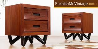 pair of art deco influenced vintage mahogany nightstands