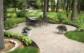 Beautiful Patio Designs A Beautiful Patio Desinged In Pavers With Gardens And Shrubs