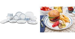 corelle black friday deals 2017 corelle livingware classic cafe blue dinnerware set 74 piece