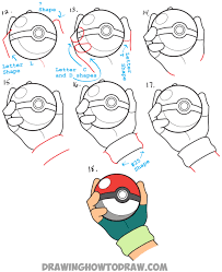 how to draw pokeball in ash u0027s hand step by step pokemon drawing