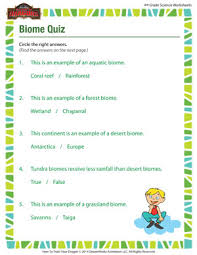 biome quiz u2013 science worksheets printables for grade 4 u2013 of