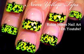 neon yellow nails cute stars short nail art design tutorial