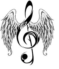 notes hearts and musicnote with angelwings large