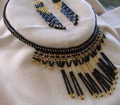 Handmade Seed Beaded Gold Plated Golden Ray Of Sun Beadwoven Fringed Necklace U0026 Earring Set