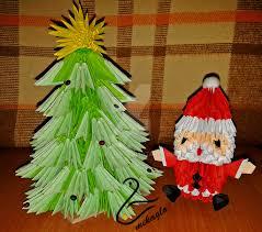3d origami christmas tree and santa by majka16g on deviantart